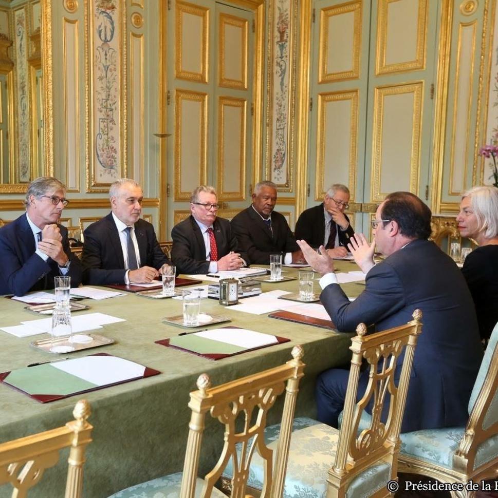 Gérard Romiti, Président du CNPMEM et du CRPMEM de Corse et les 4 vices-présidents du CNPMEM reçus à l'Elysée