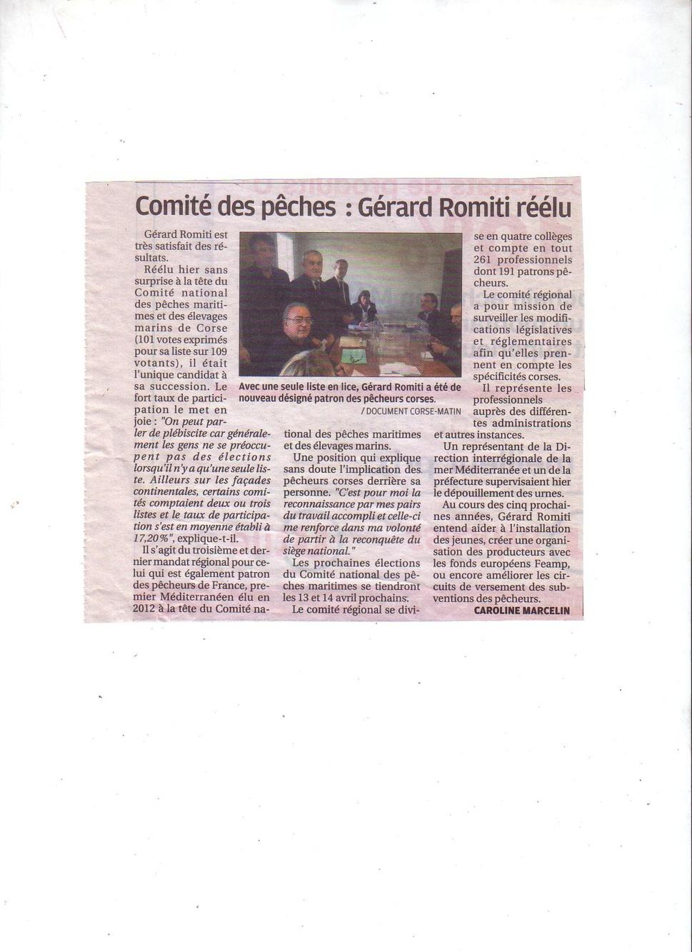 Election du 12 et 13 janvier 2017. Gérard Romiti réélu pour 5 ans à la tête du CRPMEM de Corse.