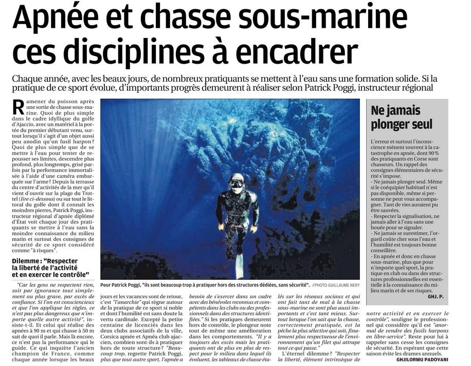 La chasse sous-marine est une activité dangereuse, à pratiquer avec prudence et encadrement.