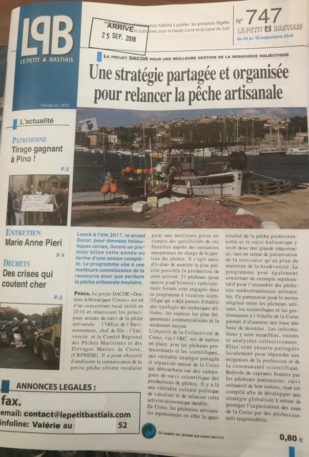 Article du petit Bastiais sur le programme DACOR et la pêche artisanale insulaire