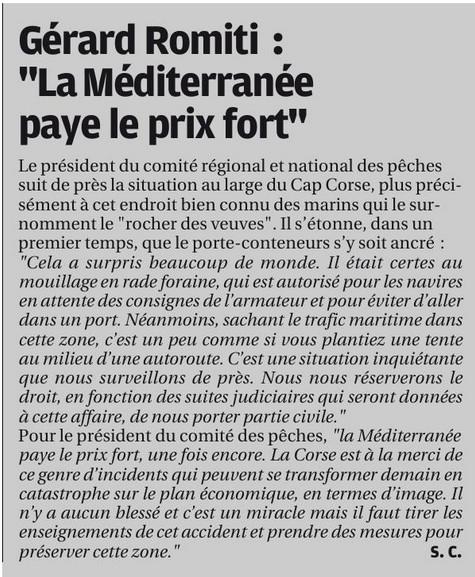 Communiqué de M.ROMITI à propos de la collision au large des côtes Corses