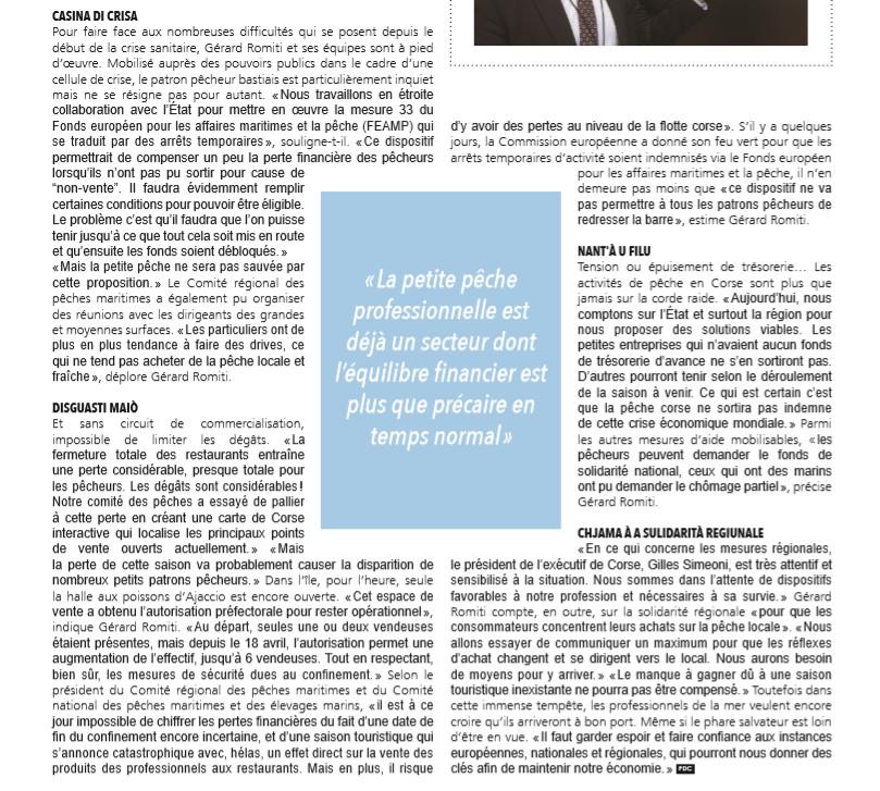 Le président Gérard ROMITI dans l'édition Paroles de Corse