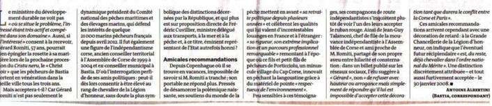 LA LEGION D'HONNEUR ENCOMBRANTE D'UNE FIGURE DU NATIONALISME CORSE