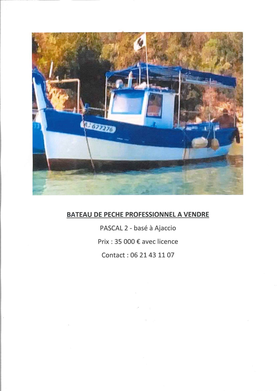 Bateau de pêche à vendre