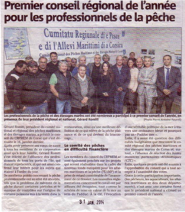 Article Corse Matin 31 janvier