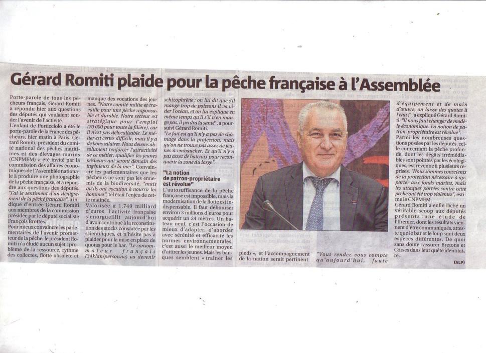 Gérard Romiti défend la pêche à l'assemblée nationale