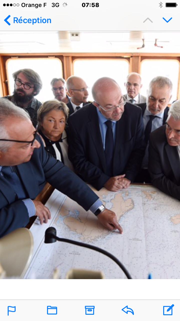 Stéphane TRAVERT, ministre en charge de la pêche, Gérard Romiti, président du CNPMEM et du CRPMEMC