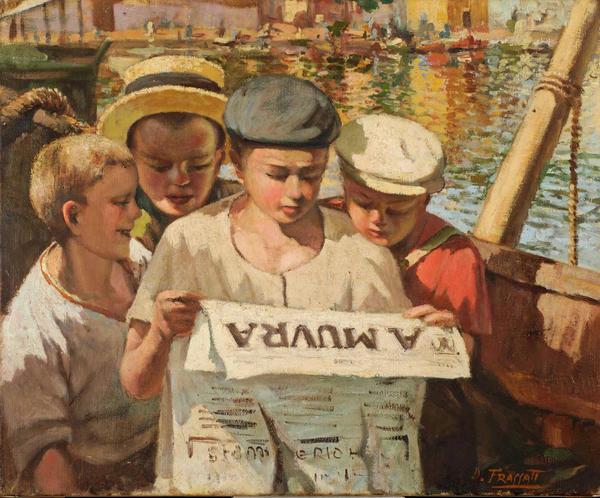 Dominique   FRASSATI  (Corte 1896 - 1947 ).  Quatre jeunes pêcheurs du port d'Ajaccio lisant A Muvra  Huile sur toile  60 x 72 cm (1936). Département Peinture Corse, Galerie  Palais Fesch Musée des beaux-arts Ajaccio