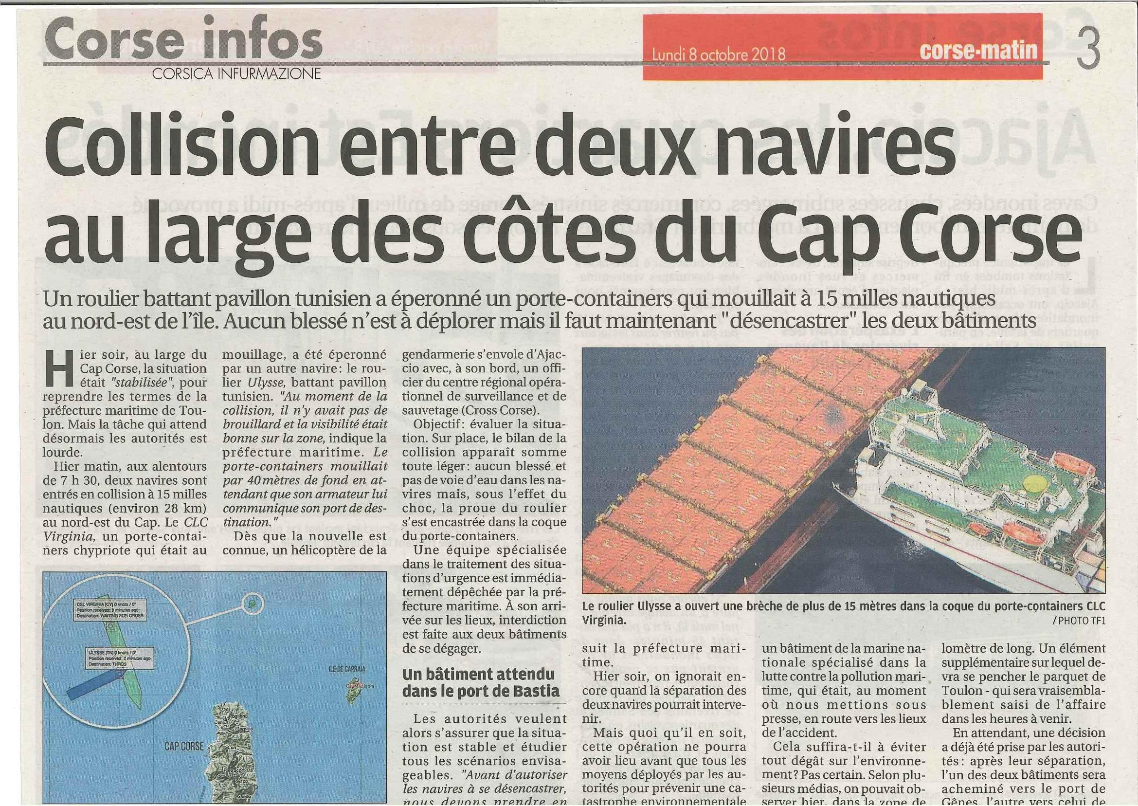 Pollution marine au large du Cap Corse : Réaction du CRPMEMC