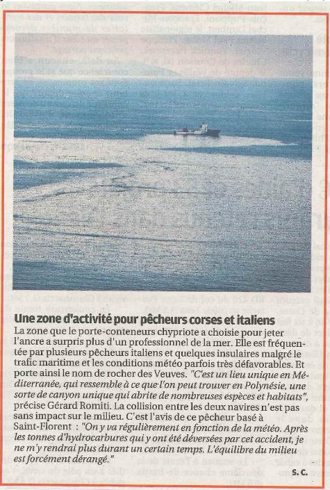 La zone de collision perpendiculaire récente entre deux bateaux entre Corse et Toscane : un vrai écosystème marin