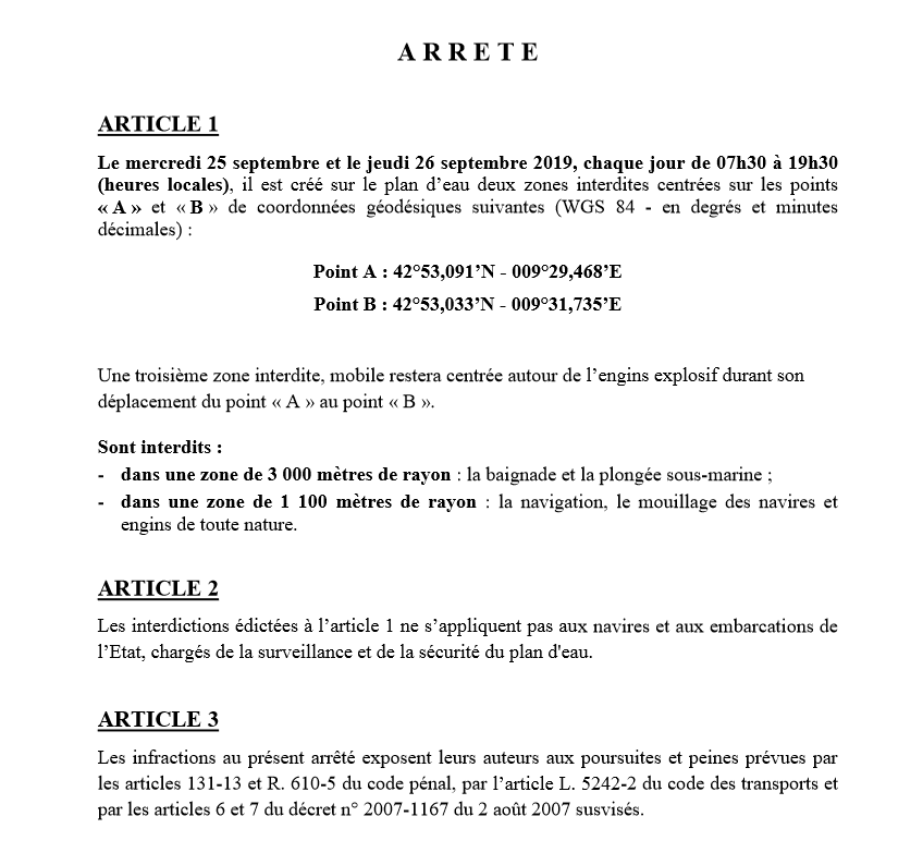 Arreté préfectoral engin explosif Santa Severa