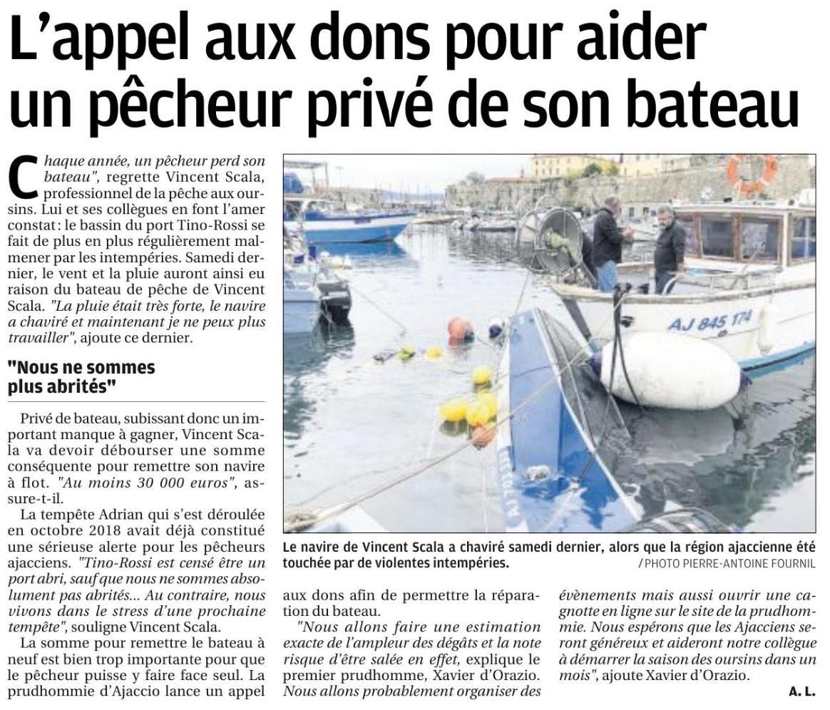 L'appel aux dons pour aider un pêcheur ajaccien privé de son bateau